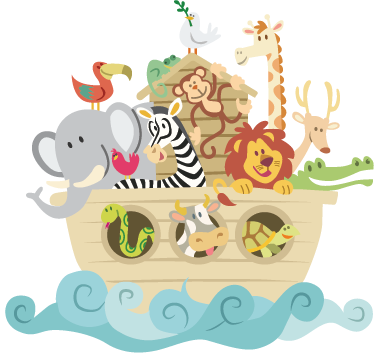 TenStickers. Noah's Ark Kids Sticker. Fantastic animal sticker with a design of the biblical boat built by Noah. Apply easily to any flat surface. High quality.