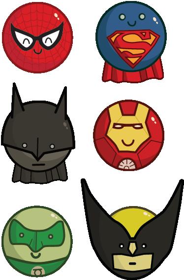 TenStickers. Muursticker Kinderkamer Superhelden. Een leuke set muurstickers voor kinderen met allerlei superhelden zoals: Batman, Spiderman en Superman.