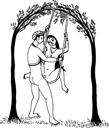 TenStickers. Sex Swing Illustration Sticker. Erotic sticker with a drawing of a couple practising acrobatic sex on a swing.