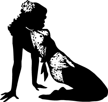 TenStickers. Pin Up Girl Silhouette Sticker. Detailed and original sticker of a young girl in an insinuating pose dressed in typical postwar clothing.