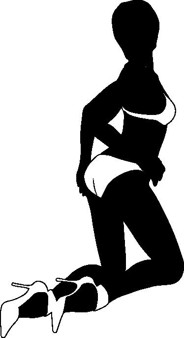 TenStickers. Wandtattoo sexy Pose. Erotisches Wandtattoo, das die Silhouette einer Frau zeigt, die in einer provozierenden Pose auf dem Boden kniet und nur noch Unterwäsche an hat.