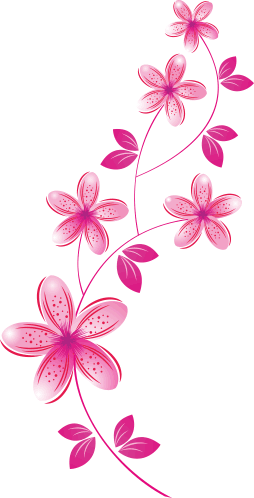 Pink Flowers Wall Sticker Tenstickers