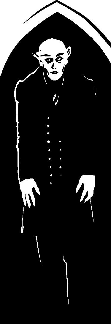 TenStickers. Sticker decorativo frigo Nosferatu. Personalizza il tuo frigorifero con questo inquietante adesivo che raffigura il vampiro del celebre film muto di inizio '900.