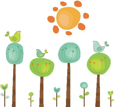 Tenstickers. Lapset aurinkoisella paikalla seinä tarra. Leikkisä ja värikkäitä kuvia neljästä puusta ja kolmesta linnusta palavan auringon alla. Loistava muotoilu teal-seinä tarrojen kokoelmasta.