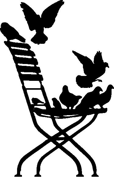 TENSTICKERS. 鳩の椅子のリビングルームの壁の装飾. たくさんのハトと椅子を描いたオリジナルのステッカー!あなたの寝室やリビングルームを飾る完璧な方法!