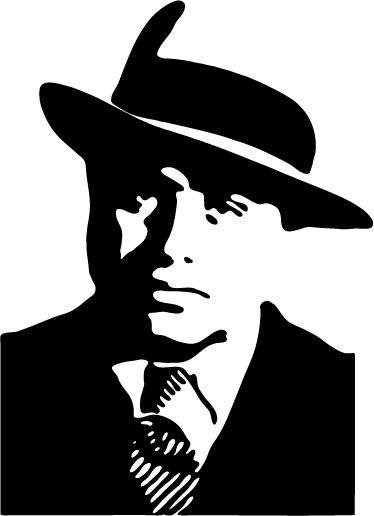 TenStickers. Al Capone Silhouette Sticker. Portrait sticker of this famous mob boss of Sicilian origin. Do you love the the history of American gang culture?