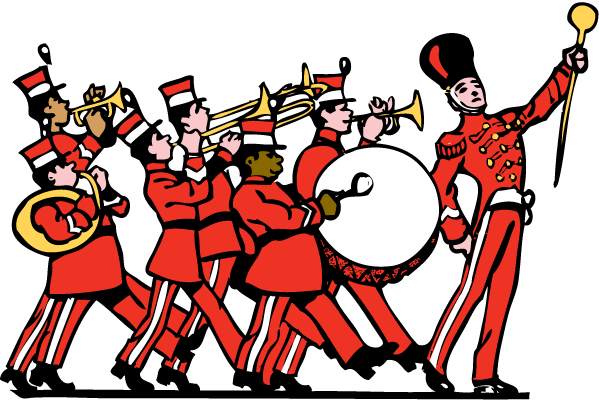 TenVinilo. Adhesivo decorativo banda musical. Vinilo de un grupo de músicos en marcha recorriendo y dándole ritmo a las calles de un día festivo.