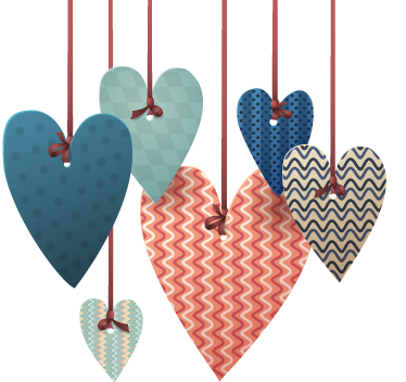 TenStickers. Hearts Hanging Wall Sticker. A fantastic design illustrating hanging hearts from our collection of heart stickers to decorate your home.