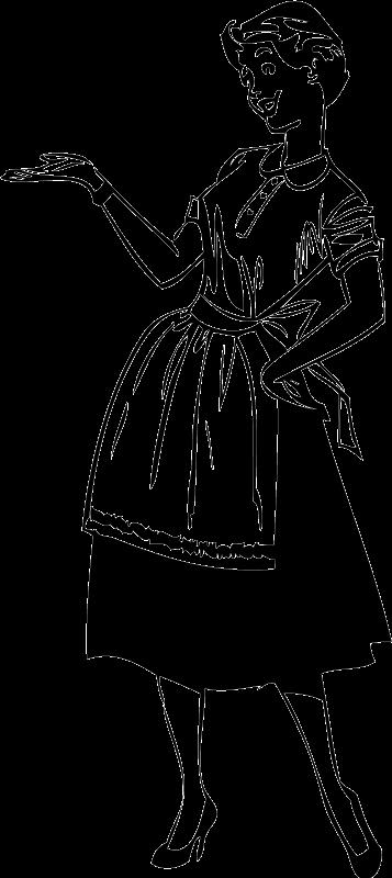 TenVinilo. Vinilo decorativo lady in the house. Detallada ilustración de aire retro en adhesivo de una elegante ama de casa americana señalando algo.