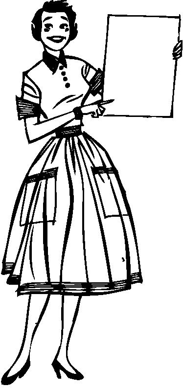 TenStickers. Retro öğretmen vintage etiket. Zarif bir vintage çıkartma illüstrasyon 50'li bir öğretmen. Eviniz için retro duvar çıkartmaları koleksiyonumuzdan hoş bir tasarım.