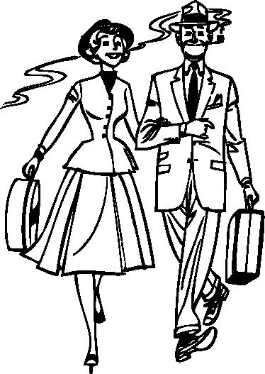 TenStickers. Autocolantes Vintage autocolante de casal dos anos 50. Ilustração monocromática de um homem e uma mulher caminhando juntos, vestidos com roupas elegantes do estilo da década de 1950.