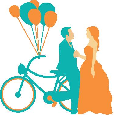 TenStickers. Frisch verheiratetes Ehepaar Aufkleber. Mit diesem originellen Wandtattoo Design von einem Brautpaar mit Fahrrad und Luftballons können Sie Ihre Wand dekorieren.
