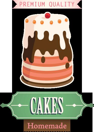 TenStickers. 광고 케이크 사인 데칼. 데칼-텍스트와 함께 맛있는 케이크의 그림입니다. 빵집 및 카페와 같은 비즈니스에 이상적입니다. 벽 스티커.