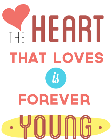 "TenStickers. Young Heart Wall Sticker. ""The heart that loves is forever young"" is a colourful text design from our collection of heart wall stickers."