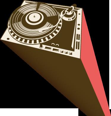 TENSTICKERS. ターンテーブルdjデッキウォールステッカー. ウォールステッカー-djターンテーブルの都市図。意欲的なdj、ミュージシャン、音楽愛好家に最適です。さまざまなサイズで利用できます。