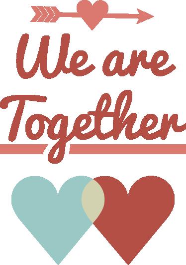 """TenStickers. Vinil decorativo we are together. Vinil decorativo com expressão em inglês """"We are together"""" que significa """"Estamos juntos"""". Adesivo de parede para decoração para interiores."""