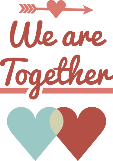 TenStickers. 我们在一起墙贴. 梦幻般的爱情墙贴,描绘了伴侣会喜欢的甜美文字!特殊日期(例如情人节)的绝佳设计。