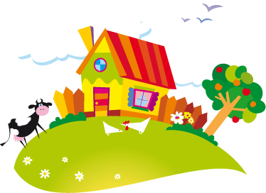 TenStickers. Kids Summer Farm Wall Mural. Kids Wall Stickers - Colourful and vibrant illustration of a farm house during the summer including a cow and chickens.