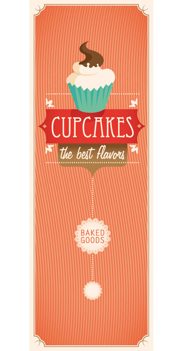 TenStickers. Cupcakes Fridge Sticker. Fridge Stickers -Retro cupcake themed style design ideal for personalising your fridge. Contact us at %email% for custom sizes.