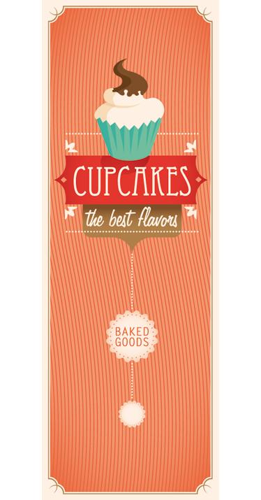 TenStickers. Nalepka s hladilnikom cupcakes. Hladilne nalepke - retro tematsko oblikovani tematski slog, idealen za personalizacijo vašega hladilnika. Kontaktirajte nas na %year% za velikosti po meri.