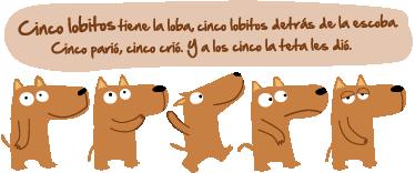 TenVinilo. Vinilo infantil canción cinco lobitos. Original adhesivo con la estrofas principales de esta melodía clásica para niños.