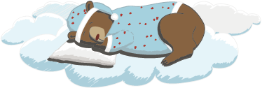 TenStickers. Sleeping Bear Wall Sticker. An illustration of an adorable bear wearing pyjamas sleeping on a cloud from our superb collection of cloud wall stickers for children. This is the ideal design to decorate the bedroom or play area of the little ones. Create a fun environment where they can have fun during playtime.