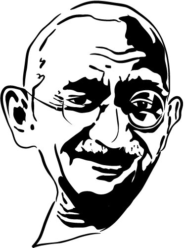TenStickers. Gandhi Portrait Sticker. A fantastic monochrome wall sticker representing the face of Gandhi. Get this unmissable silhouette decal to decorate your home.