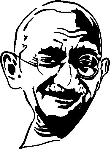 TENSTICKERS. ガンジーの肖像ステッカー. ガンジーの顔を表す幻想的なモノクロウォールステッカー。あなたの家を飾るためにこの見逃せないシルエットデカールを入手してください。