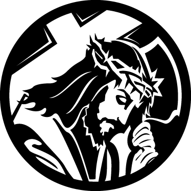 TenStickers. 그리스도의 열정 벽 스티커. 십자가를 들고 예수를 보여주는 흑백 기독교 벽 예술 데칼. 그리스도의 영화 열정에서 잘 알려진 이미지.