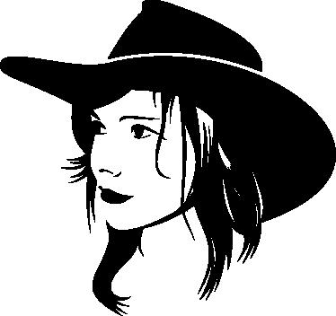 TenStickers. Naljepnica zidova za kravu djevojku. Zidne naljepnice - ilustracija siluete žene koja nosi šešir kravljeg dječaka. Dostupno u raznim veličinama i u 50 boja. Dugotrajne naljepnice.