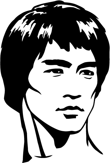 TenStickers. 브루스 리 캐릭터 벽 장식. 브루스 리의 얼굴이 경제적 인 시네마 비닐 스티커를 사용하면 쉽고 독창적 인 방식으로 장식 할 수 있습니다. 제거시 잔류 물 없음.