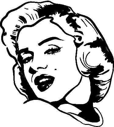 """TenStickers. 마릴린 먼로 얼굴 문자 벽 장식. 일반적으로 마릴린 먼로로 알려진 노마 진의 영화 캐릭터 벽 스티커, """"뜨거운 것 같은 일부 유명한 영화""""의 스타."""