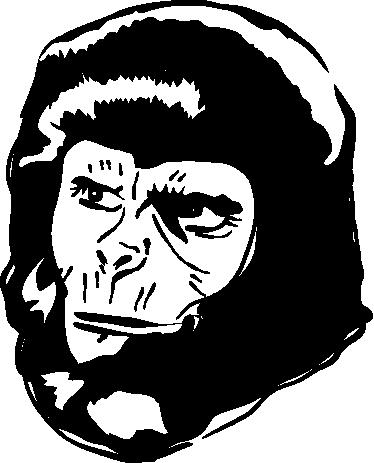 TenStickers. Sticker decorativo ritratto Pianeta Scimmie. Adesivo murale che ritrae uno dei protagonisti della nota saga cinematografica di fantascienza de Il Pianeta delle Scimmie.