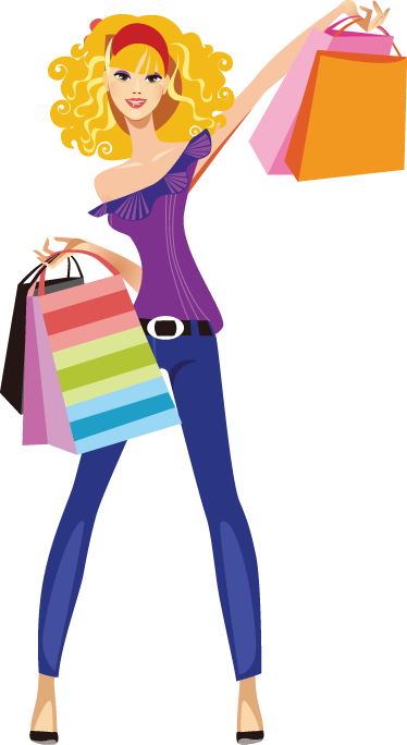 TenStickers. Lady Shopper Window Sticker. A great fashion wall sticker illustrating a woman dressed with style holding many shopping bags!