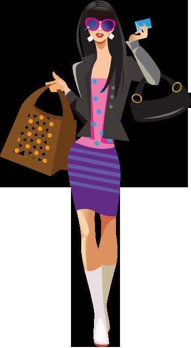 TenStickers. Nalepka za steno fashionista. Kreativna modna stenska nalepka, ki prikazuje mlado stilsko žensko s kreditno kartico v roki, pripravljeno porabiti ves svoj denar za nakupovanje.