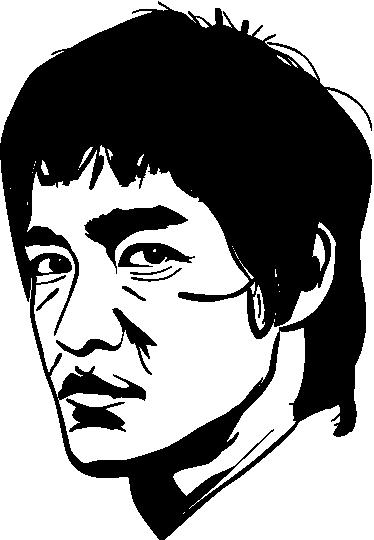TenStickers. 李小龙墙贴. 著名武术大师和演员布鲁斯·李的单色贴花。电影界一位受人尊敬的演员!