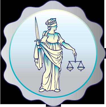 TenStickers. Sticker decorativo cornice Giustizia. Adesivo decorativo che raffigura la Giustizia con la sua spada e la sua bilancia, racchiusa in un'elegante cornice circolare.