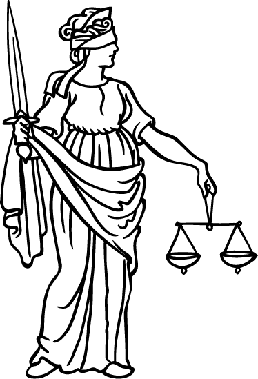 TenStickers. Justice Wall Decal. A justice wall sticker illustrating meaningful and symbolic elements of Lady Justice such as the blindfold, scale and sword. Great monochrome decal to decorate your own office and work with the right environment!