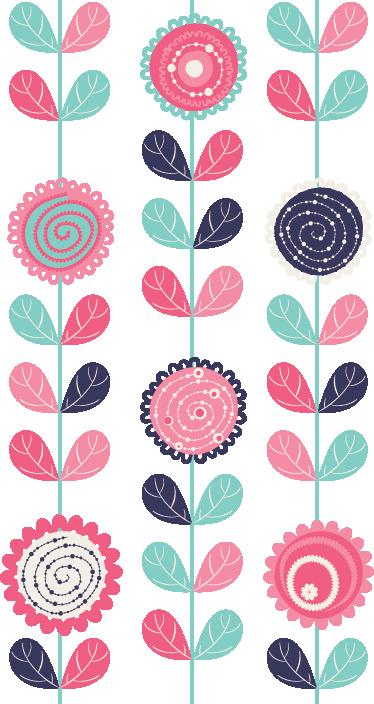 Sticker frise verticale dessin fleurs tenstickers - Coloriage frise fleurs ...