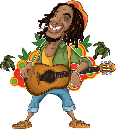 TenStickers. Rastafari Bob Marley Wall Sticker. A superb Bob Marley wall art decal illustrating a drawing of the artists holding a guitar and smoking weed.
