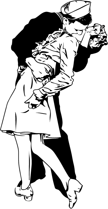 TenStickers. 纽约水手亲吻墙贴. 基于alfred eisentaedt拍摄的标志性照片的黑白墙贴。装饰你的卧室,起居室或餐厅,用你在wwii结束时感受到的爱和欢乐来拍摄你的家。