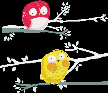 Autocollant Enfant Dessin Oiseaux Branche Tenstickers
