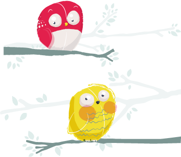 TenStickers. 孩子们两个小鸟树枝墙贴. 孩子们墙贴-顽皮的插图的两只猫头鹰,红色和黄色,搁在树枝上