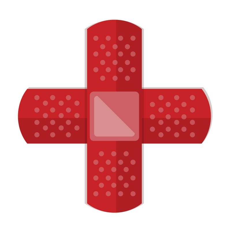 TenStickers. Sticker decorativo icona croce rossa. Adesivo decorativo che raffigura la nota icona con la croce rossa su campo bianco. Disponibile in dimensioni personalizzabili.