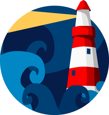 TenStickers. Lighthouse Wall Sticker. Decorate your room with this colorful decal of a lighthouse at night from our collection of sea wall stickers.
