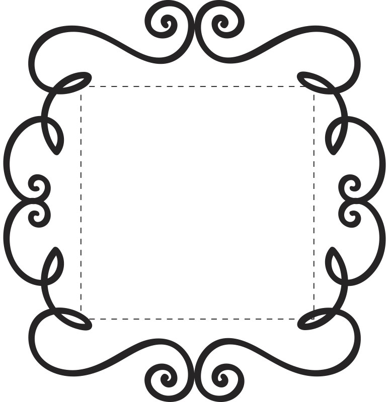 Tenstickers. Ornament bytte ramme vegg klistremerke. Et lysbryterdekal med floral design. Et nydelig svart-hvitt-klistremerke for å gi hjemmet ditt en unik og personlig preg, hjelper hver liten dekorasjon!