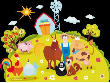 Tenstickers. Lapset onnellinen maatila seinämaalaus. Lasten seinätarrat - värikäs ja elinvoimainen esimerkki tilalta, jolla on onnellinen joukko eläimiä, mukaan lukien viljelijä.