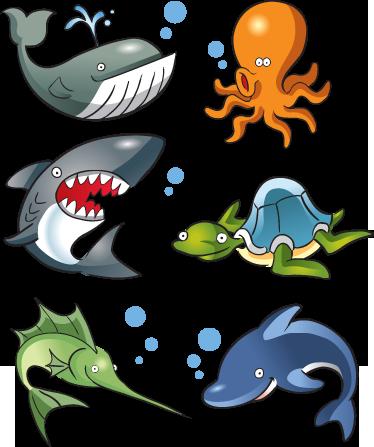 TenStickers. 海洋生物儿童贴纸. 海洋动物的集合,非常适合为儿童装饰区域。从我们的海底墙贴系列中挑选出色的设计。