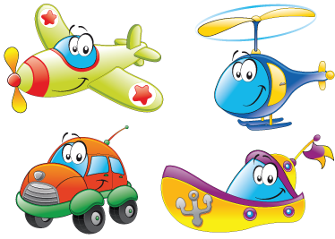 TenStickers. Transport Characters Sticker. Great children wall sticker illustrating a set of different means of transport as characters. Great transport decal for the little ones.