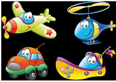 TENSTICKERS. 輸送キャラクターステッカー. キャラクターとしてさまざまな交通手段を示す素晴らしい子供用の壁ステッカー。小さなもののための素晴らしい輸送デカール。